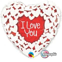"GLITTER HEARTS I LOVE YOU 36"" JUMBO PKT"