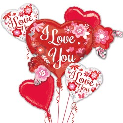 FLOWERS I LOVE YOU 5 BALLOON BOUQUET P75 PKT (3CT)