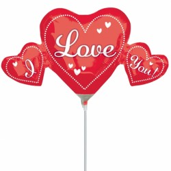 I LOVE YOU TRIO MINI SHAPE A30 INFLATED WITH CUP & STICK