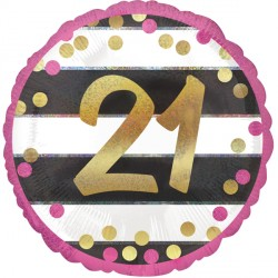 PINK & GOLD 21 BIRTHDAY STANDARD S40 PKT