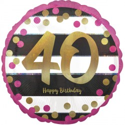 PINK & GOLD 40 BIRTHDAY STANDARD S40 PKT