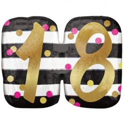 PINK & GOLD 18 BIRTHDAY SHAPE P40 PKT