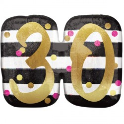 PINK & GOLD 30 BIRTHDAY SHAPE P40 PKT