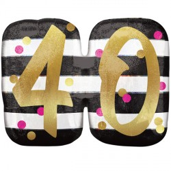 PINK & GOLD 40 BIRTHDAY SHAPE P40 PKT