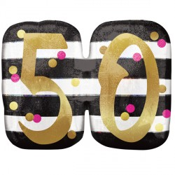 PINK & GOLD 50 BIRTHDAY SHAPE P40 PKT
