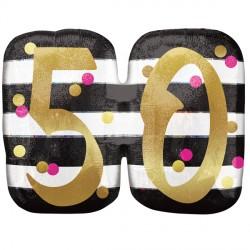"PINK & GOLD 50 BIRTHDAY SHAPE P40 PKT (25"" x 20"")"