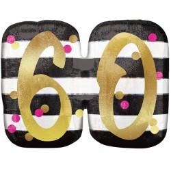 "PINK & GOLD 60 BIRTHDAY SHAPE P40 PKT (25"" x 20"")"
