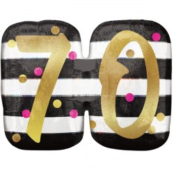 PINK & GOLD 70 BIRTHDAY SHAPE P40 PKT