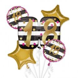 PINK & GOLD 18 BIRTHDAY 5 BALLOON BOUQUET P75 PKT (3CT)