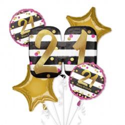 PINK & GOLD 21 BIRTHDAY 5 BALLOON BOUQUET P75 PKT (3CT)
