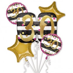 PINK & GOLD 30 BIRTHDAY 5 BALLOON BOUQUET P75 PKT (3CT)