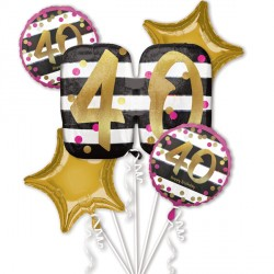 PINK & GOLD 40 BIRTHDAY 5 BALLOON BOUQUET P75 PKT (3CT)