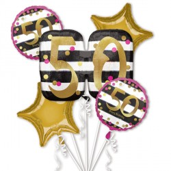 PINK & GOLD 50 BIRTHDAY 5 BALLOON BOUQUET P75 PKT (3CT)