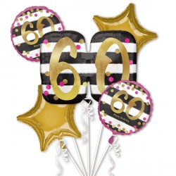 PINK & GOLD 60 BIRTHDAY 5 BALLOON BOUQUET P75 PKT (3CT)