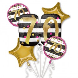 PINK & GOLD 70 BIRTHDAY 5 BALLOON BOUQUET P75 PKT (3CT)
