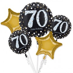 BLACK & GOLD 70 SPARKLING BIRTHDAY 5 BALLOON BOUQUET P75 PKT (3CT)