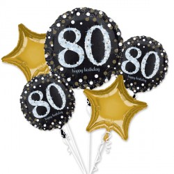BLACK & GOLD 80 SPARKLING BIRTHDAY 5 BALLOON BOUQUET P75 PKT (3CT)