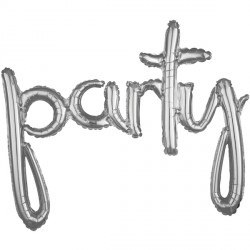 "PARTY SILVER SCRIPT PHRASE SHAPE G40 PKT (39"" x 31"")"
