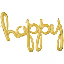HAPPY GOLD SCRIPT PHRASE SHAPE G40 PKT