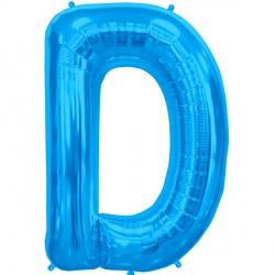 """BLUE LETTER D SHAPE 34"""" PKT"""