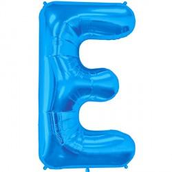 "BLUE LETTER E SHAPE 34"" PKT"
