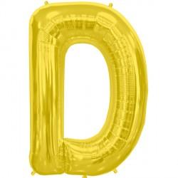 """GOLD LETTER D SHAPE 34"""" PKT"""