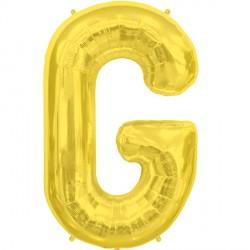 """GOLD LETTER G SHAPE 34"""" PKT"""