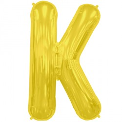 "GOLD LETTER K SHAPE 16"" PKT"