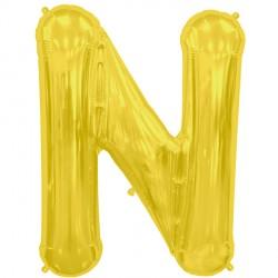 """GOLD LETTER N SHAPE 16"""" PKT"""