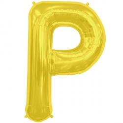 """GOLD LETTER P SHAPE 16"""" PKT"""