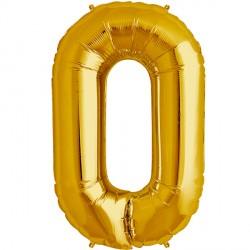 """GOLD NUMBER 0 SHAPE 16"""" PKT"""