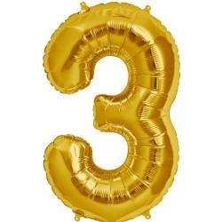 """GOLD NUMBER 3 SHAPE 16"""" PKT"""