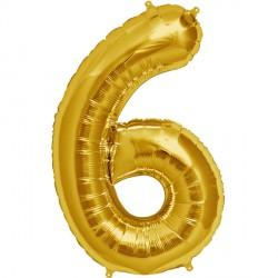 """GOLD NUMBER 6 SHAPE 16"""" PKT"""