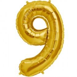 """GOLD NUMBER 9 SHAPE 16"""" PKT"""