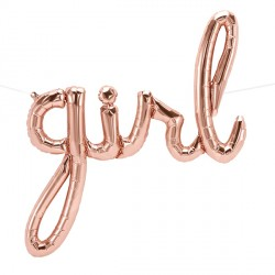 "GIRL SCRIPT ROSE GOLD 40"" AIRFILLED SHAPE S1-01 PKT"