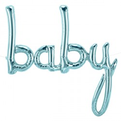 "BABY SCRIPT PASTEL BLUE 40"" AIRFILLED SHAPE S1-01 PKT"