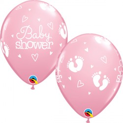 """BABY SHOWER FOOTPRINTS & HEARTS 11"""" PINK (25CT) YHG"""