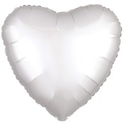 WHITE SATIN LUXE HEART STANDARD S15 FLAT A