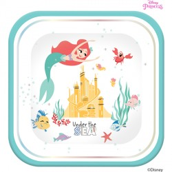 DISNEY ARIEL UNDER THE SEA SQUARE PAPER PLATES (4CT X 6 PACKS)