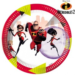 INCREDIBLES 2 PAPER PLATES MEDIUM 20cm (8CT X 6 PACKS)