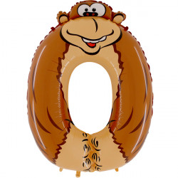 "ANIMALOONS NUMBER 0 GORILLA SHAPE 40"" PKT"