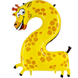 "ANIMALOONS NUMBER 2 GIRAFFE SHAPE 40"" PKT"