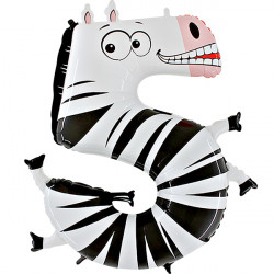 "ANIMALOONS NUMBER 5 ZEBRA SHAPE 40"" PKT"