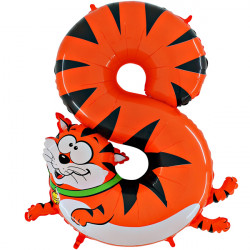 "ANIMALOONS NUMBER 8 CAT SHAPE 40"" PKT"