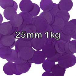 PURPLE 25MM ROUND PAPER CONFETTI 1KG