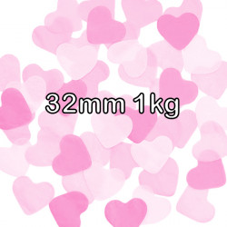 PINK 32MM HEART PAPER CONFETTI 1KG
