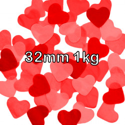 RED 32MM HEART PAPER CONFETTI 1KG