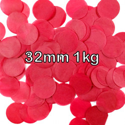 RED 32MM ROUND PAPER CONFETTI 1KG