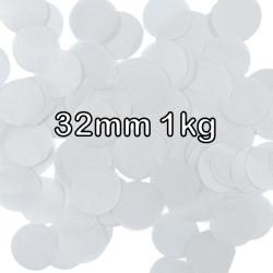 WHITE 32MM ROUND PAPER CONFETTI 1KG