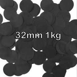 BLACK 32MM ROUND PAPER CONFETTI 1KG